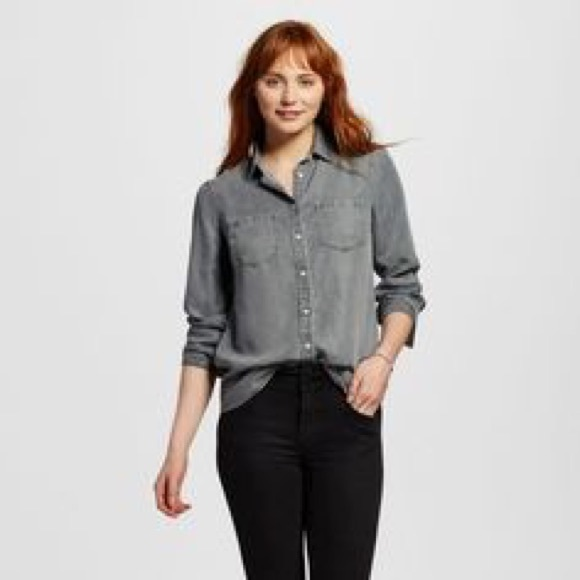 Merona Tops - Merona • Gray Chambray Button Down